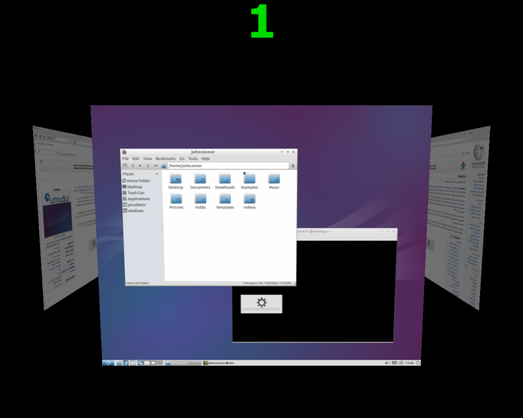 Logout and now every time you use that hot-corner your desktops will look like this: